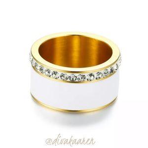 Pave Enamel Gold Stacking Ring, Wedding Band